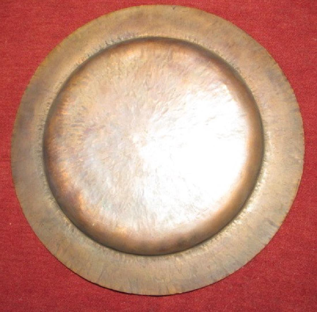 Hammered Copper Plate , Lamp, & Brass Tray - 3