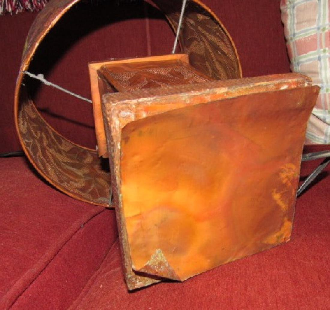 Hammered Copper Plate , Lamp, & Brass Tray - 5