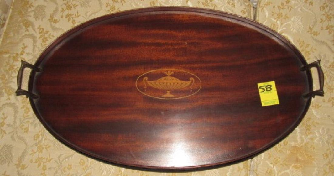 Mahogany Inlaid Oval Serving Tray