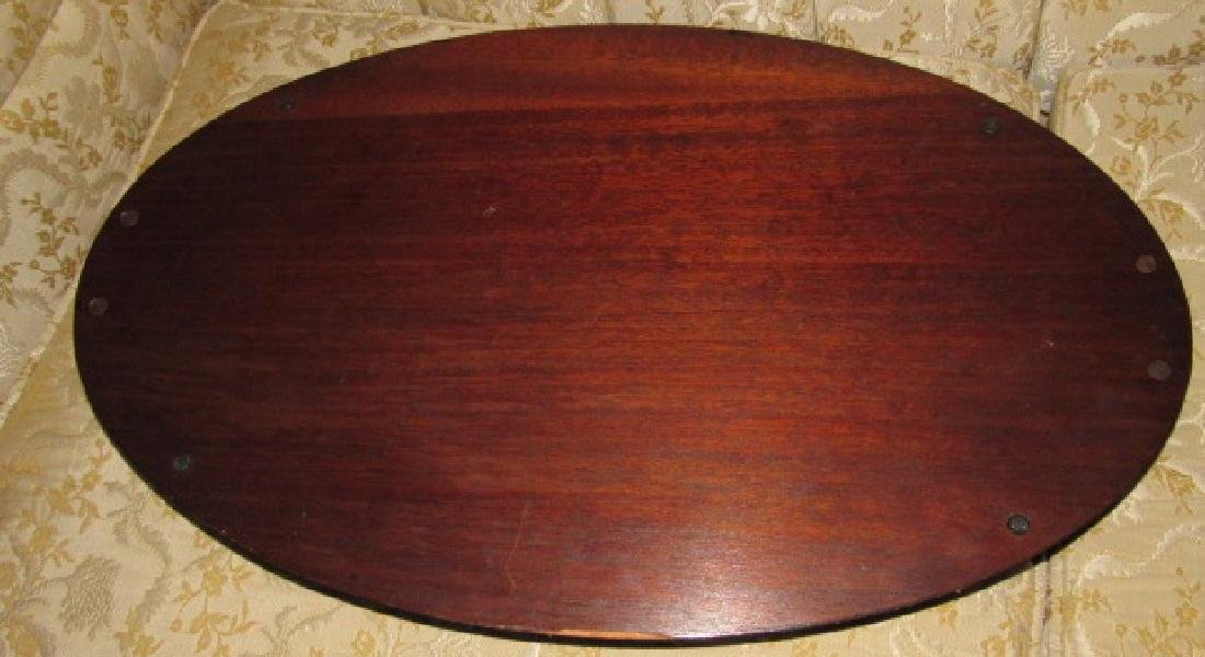 Mahogany Inlaid Oval Serving Tray - 3