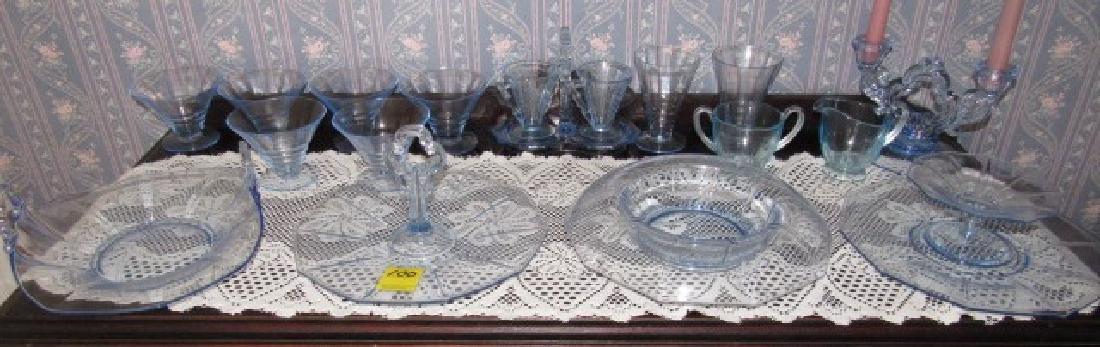 Blue Depression Glass Set