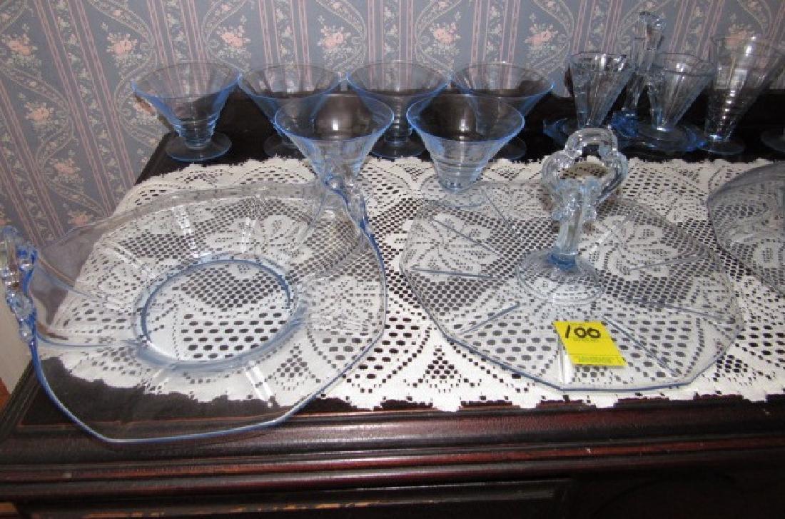 Blue Depression Glass Set - 2