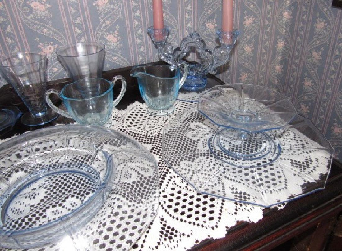 Blue Depression Glass Set - 4