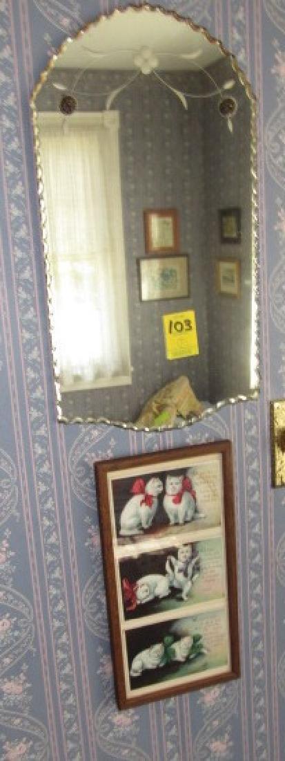 Framed Cat Postcards & Mirror