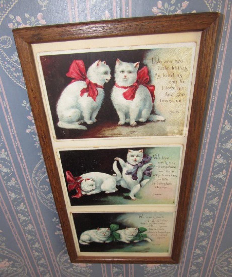 Framed Cat Postcards & Mirror - 2