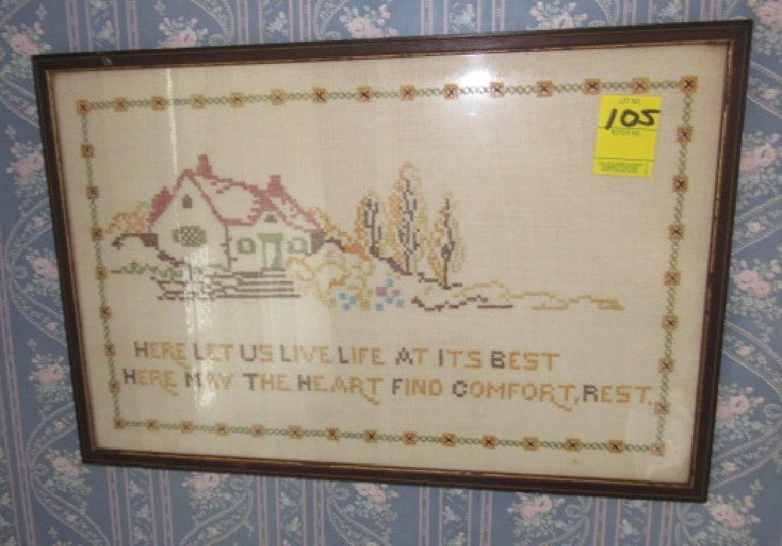 Needle Point & 2 Brass Wall Hangings