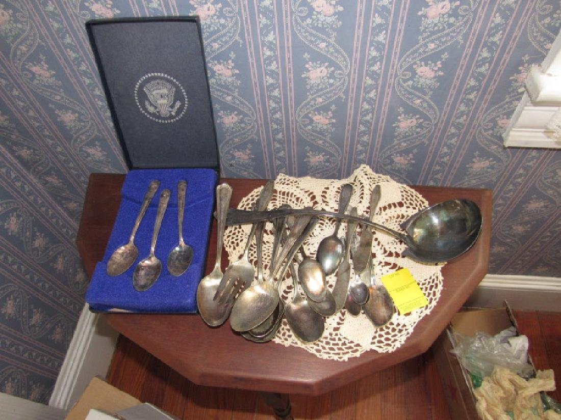 Silverplate Flatware & Collector Spoon Lot