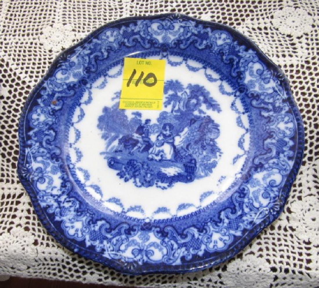 3 Watteau Flow Blue Plates & Transfer ware
