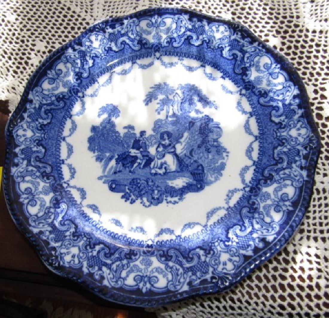 3 Watteau Flow Blue Plates & Transfer ware - 2