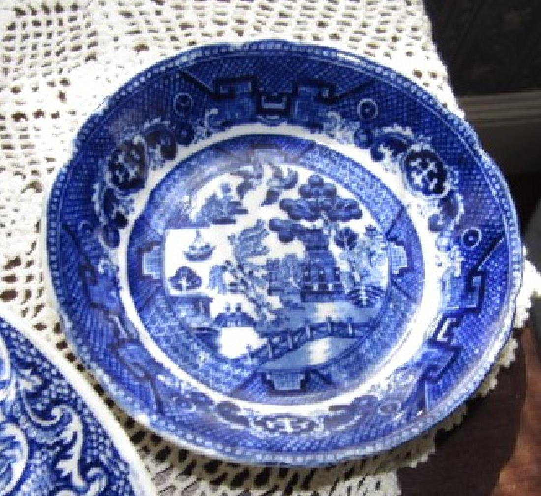 3 Watteau Flow Blue Plates & Transfer ware - 3