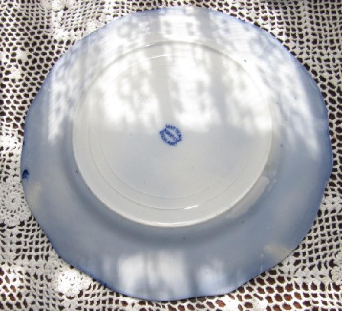 3 Watteau Flow Blue Plates & Transfer ware - 4