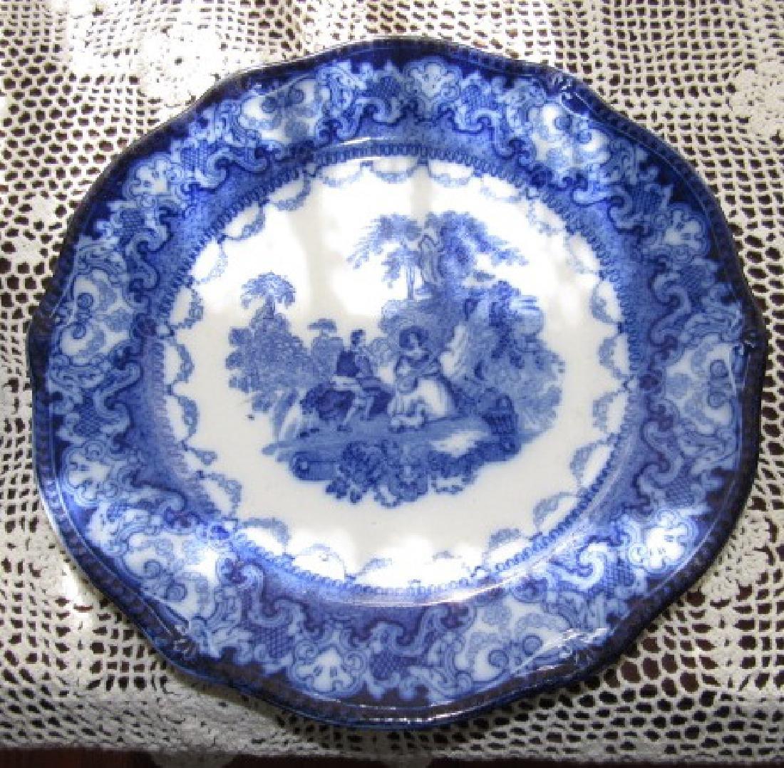 3 Watteau Flow Blue Plates & Transfer ware - 6