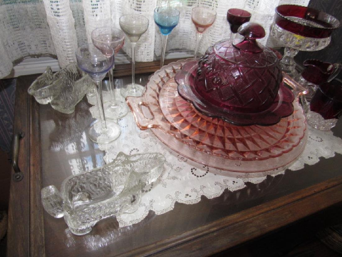 Ruby & Depression Glass Stemware Butter Dish