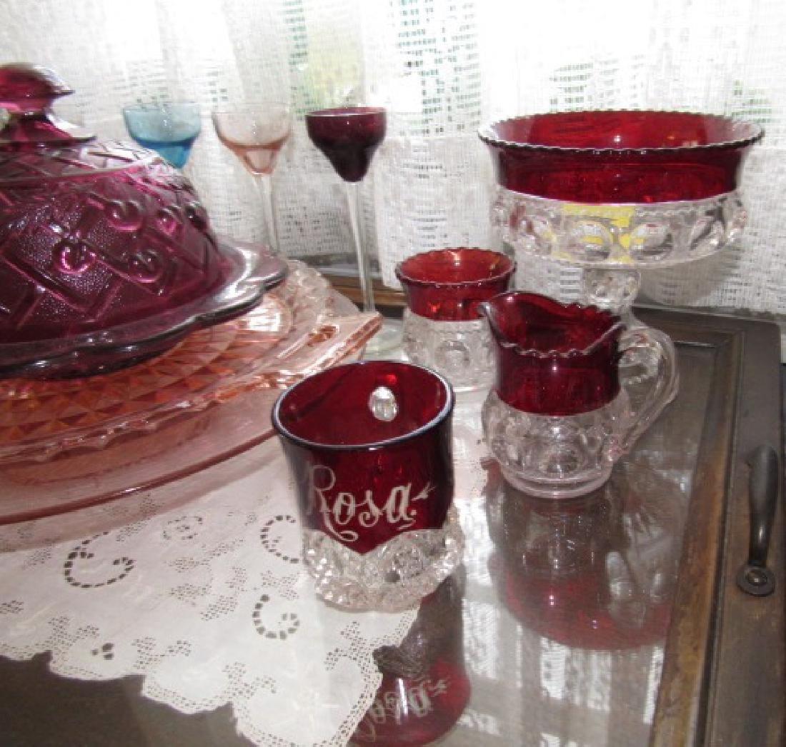 Ruby & Depression Glass Stemware Butter Dish - 2