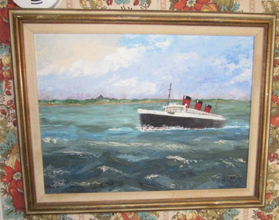 N. Oriel Queen Mary Steam Ship Oil on Canvas