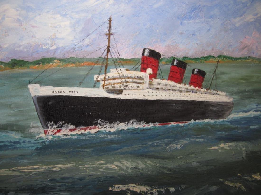N. Oriel Queen Mary Steam Ship Oil on Canvas - 2