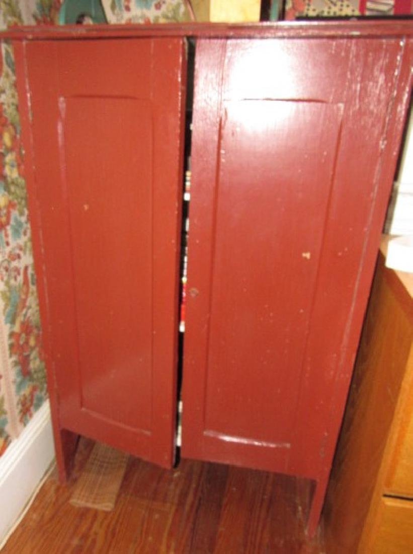 Red Painted Cupboard Lot