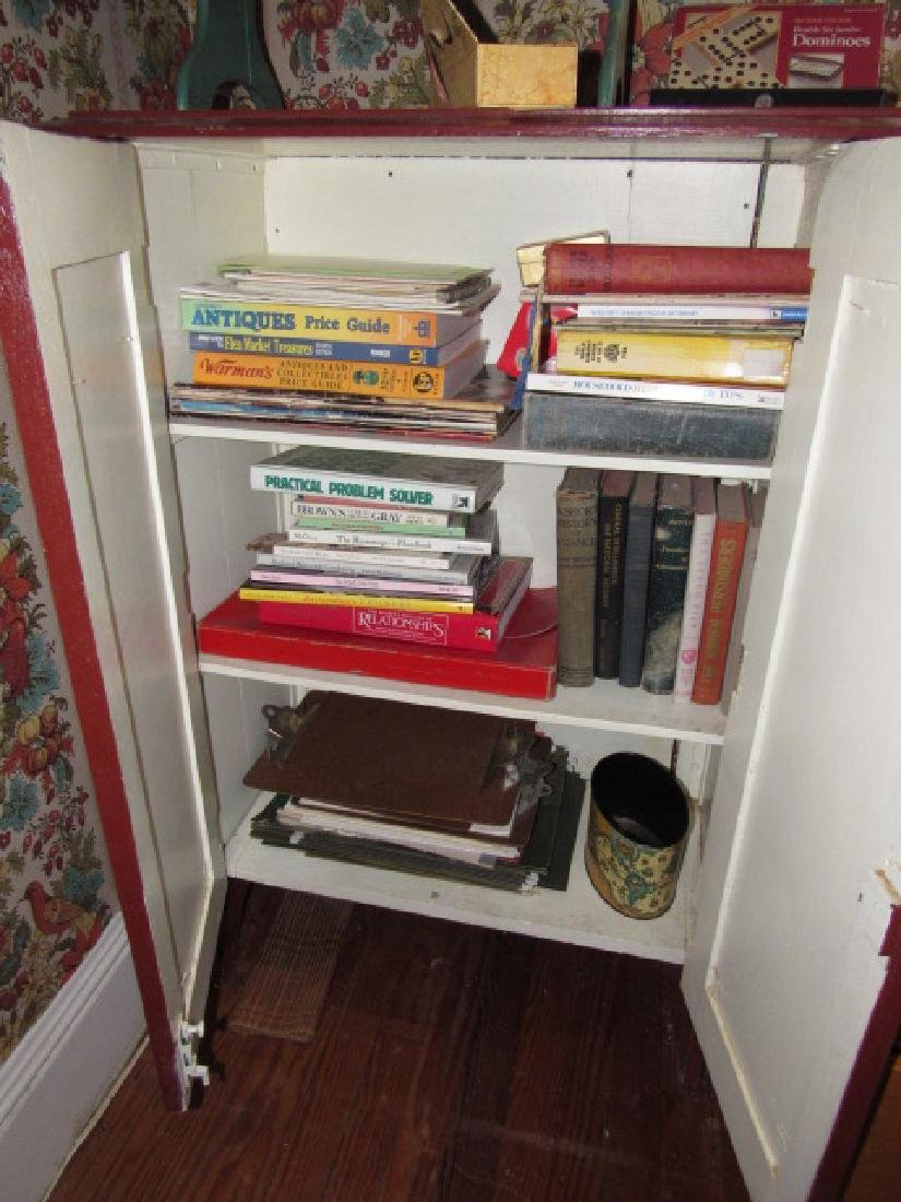 Red Painted Cupboard Lot - 2