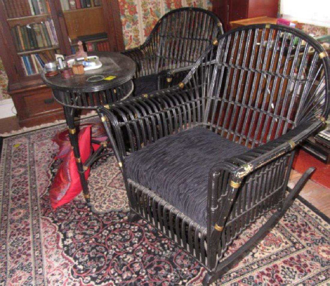 Black Painted Bamboo Chair Rocker & Table