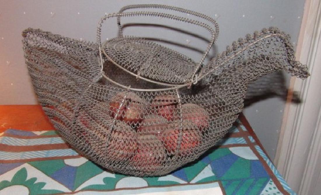 Wire Chicken Basket & Marble Eggs