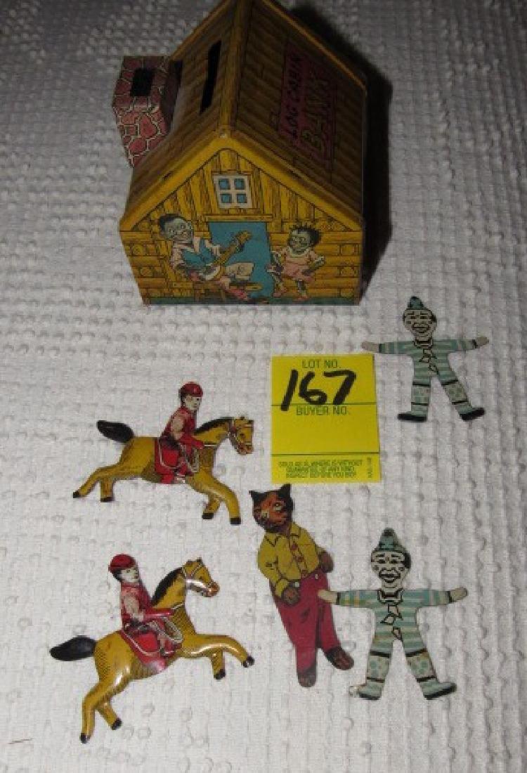 Tin Figures & Chein Log Cabin Bank