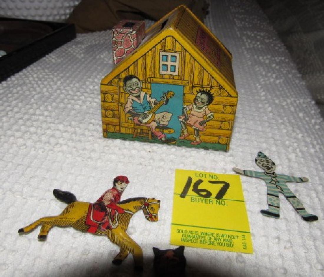 Tin Figures & Chein Log Cabin Bank - 3