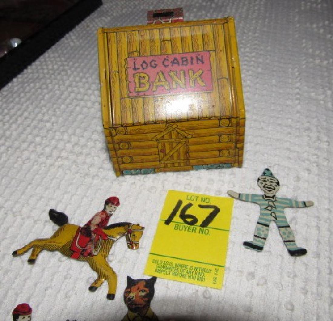 Tin Figures & Chein Log Cabin Bank - 4