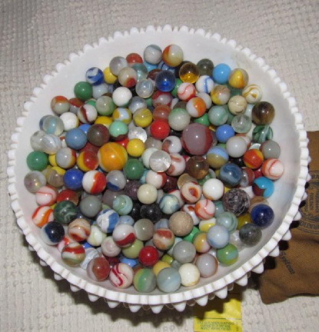 Lot of Marbles in Fenton Milk Glass Bowl