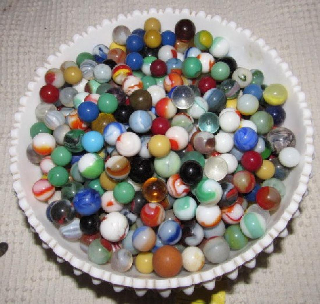 Lot of Marbles in Fenton Milk Glass Bowl - 2