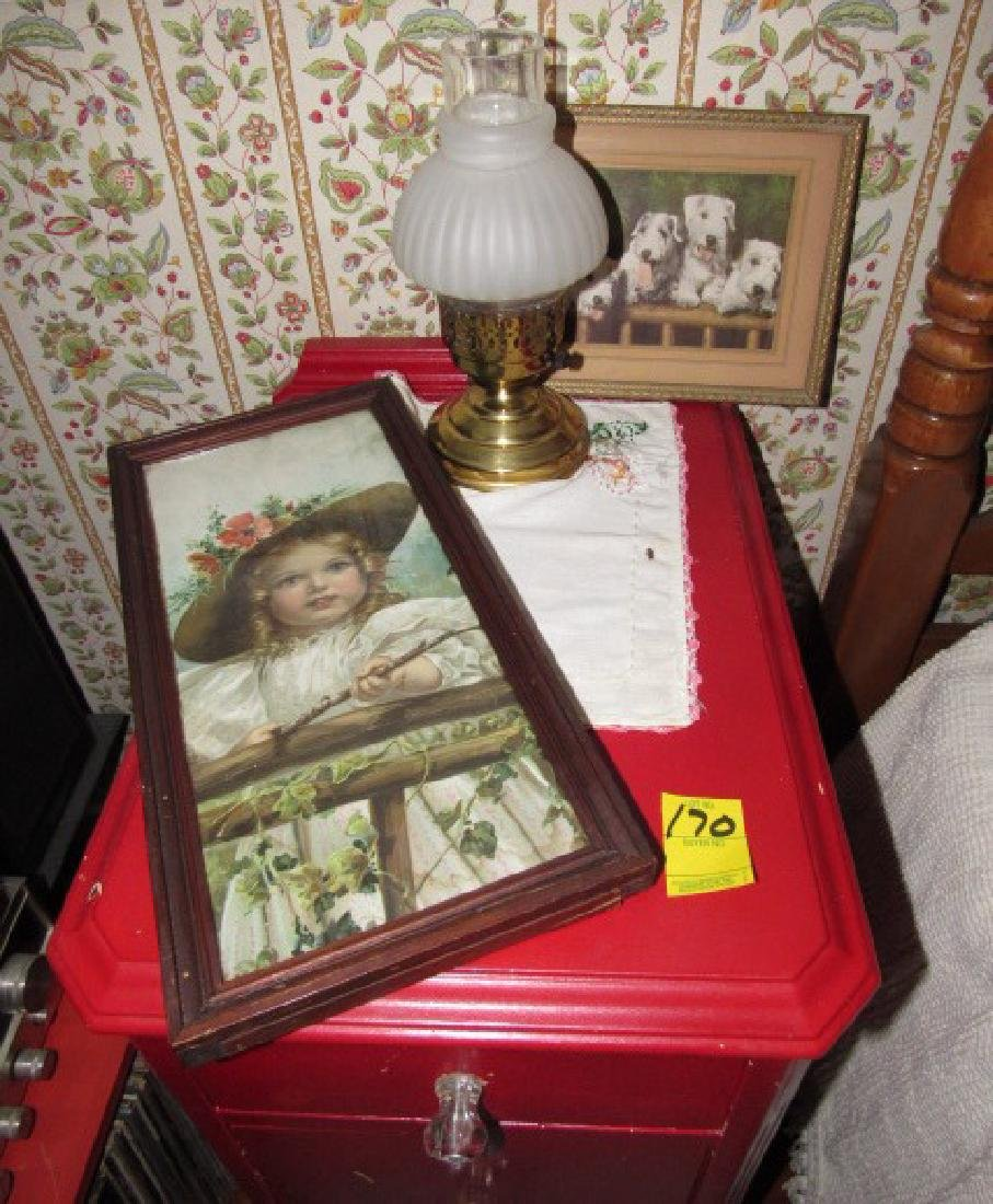 Two Drawer Stand Prints & Lamp - 2