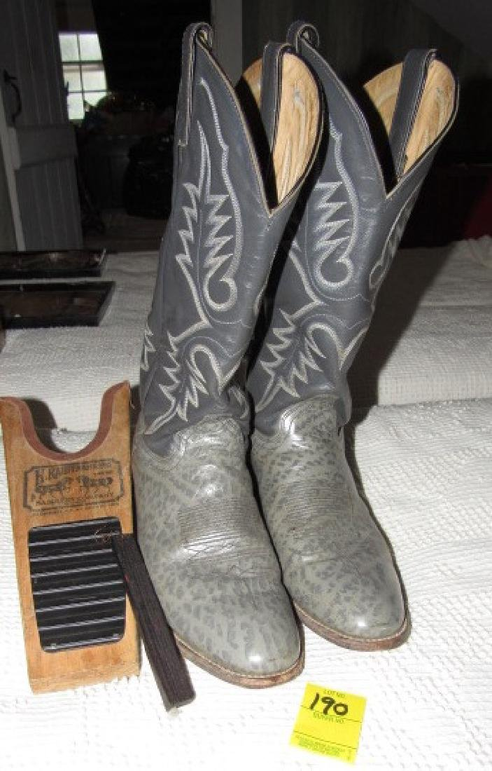 Gray Cowboy Boots w/ Boot Jack
