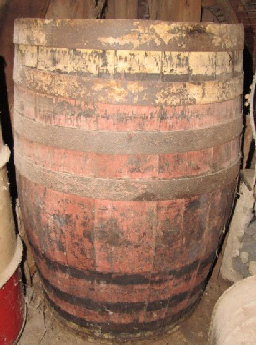 Red & White Painted Wooden Barrel