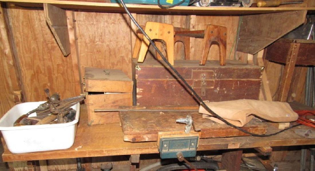 Saw Vise Dril Brace Wood Box Lot