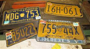 4 Vintage Car & Motorcycle Pa License Plates