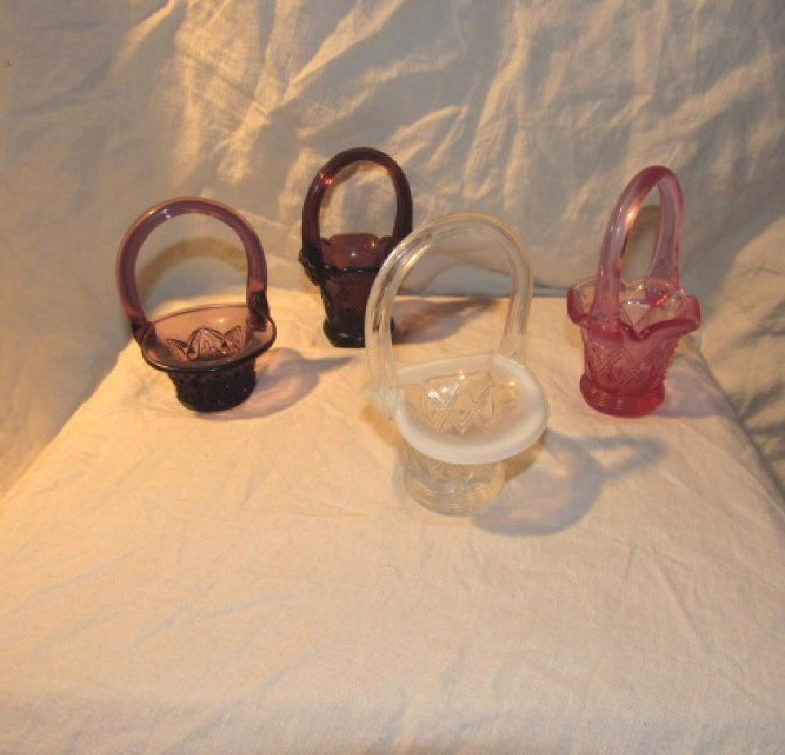 4 Small Fenton Glass Basket