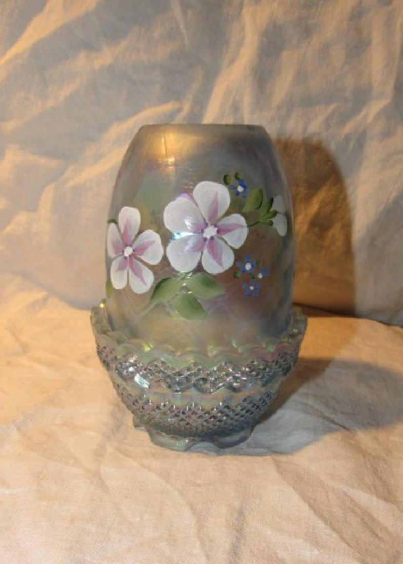 Hand Painted Fenton Glass Fairy Lamp