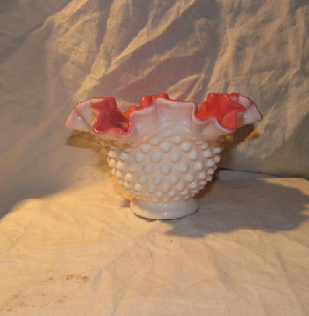 Fenton Milk Glass Hobnail Ruffled Edge Basket