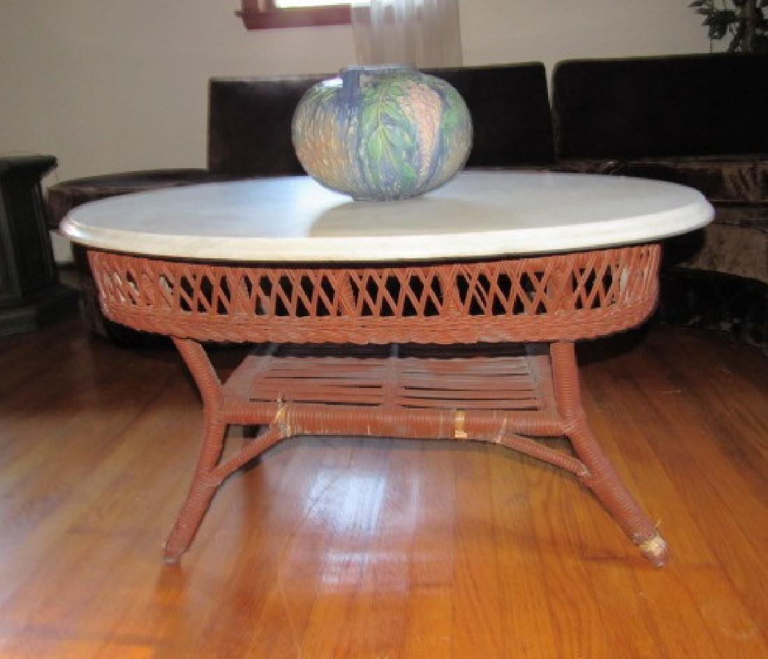 Marble Top Wicker Table