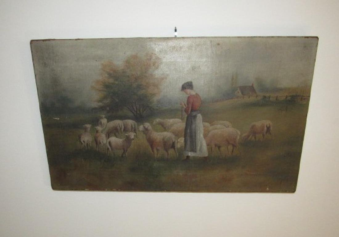Oil on Canvas Sheep Painting