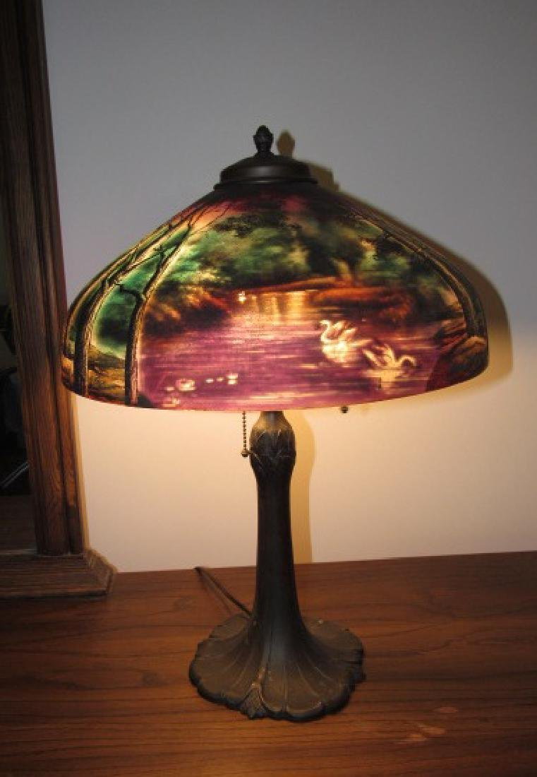 Lamp w/ Reverse Painted Shade Swan Scene