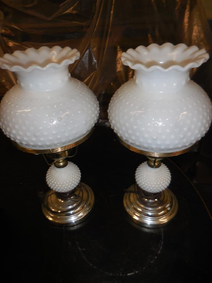 Pair of White Hobnail Lamps