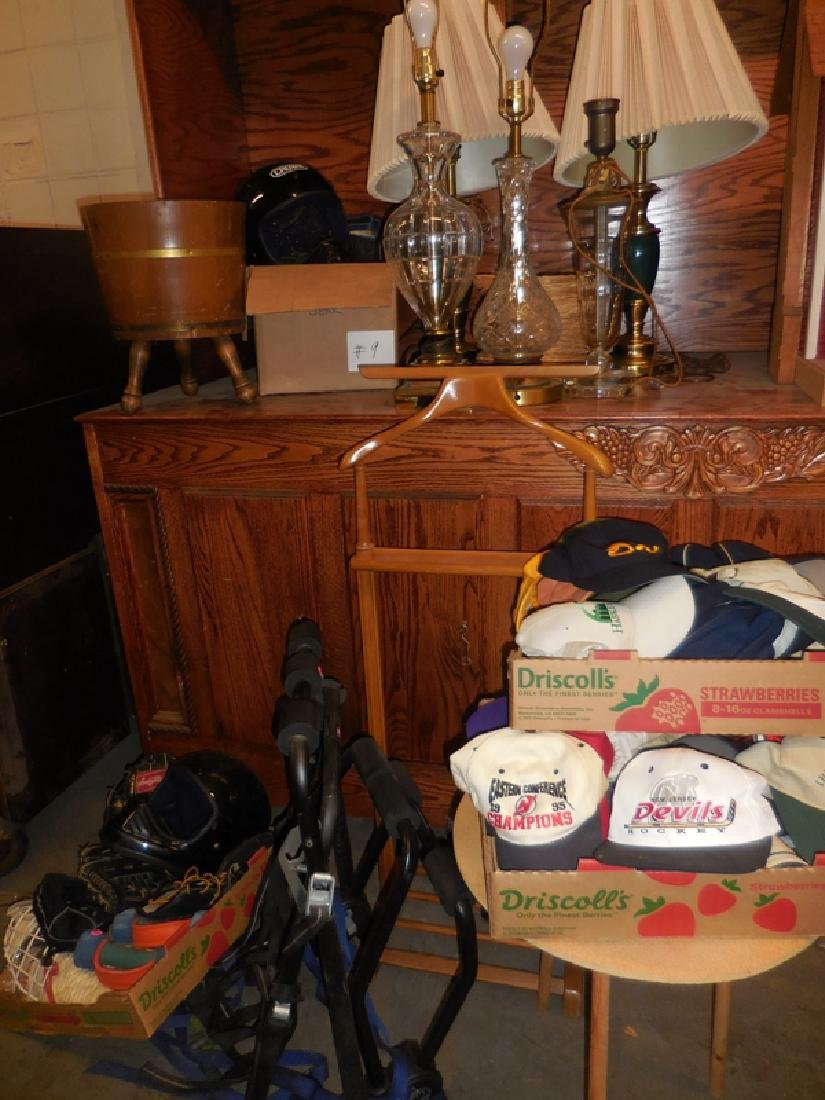 Helmets, Lamps, Coat Rack Lot