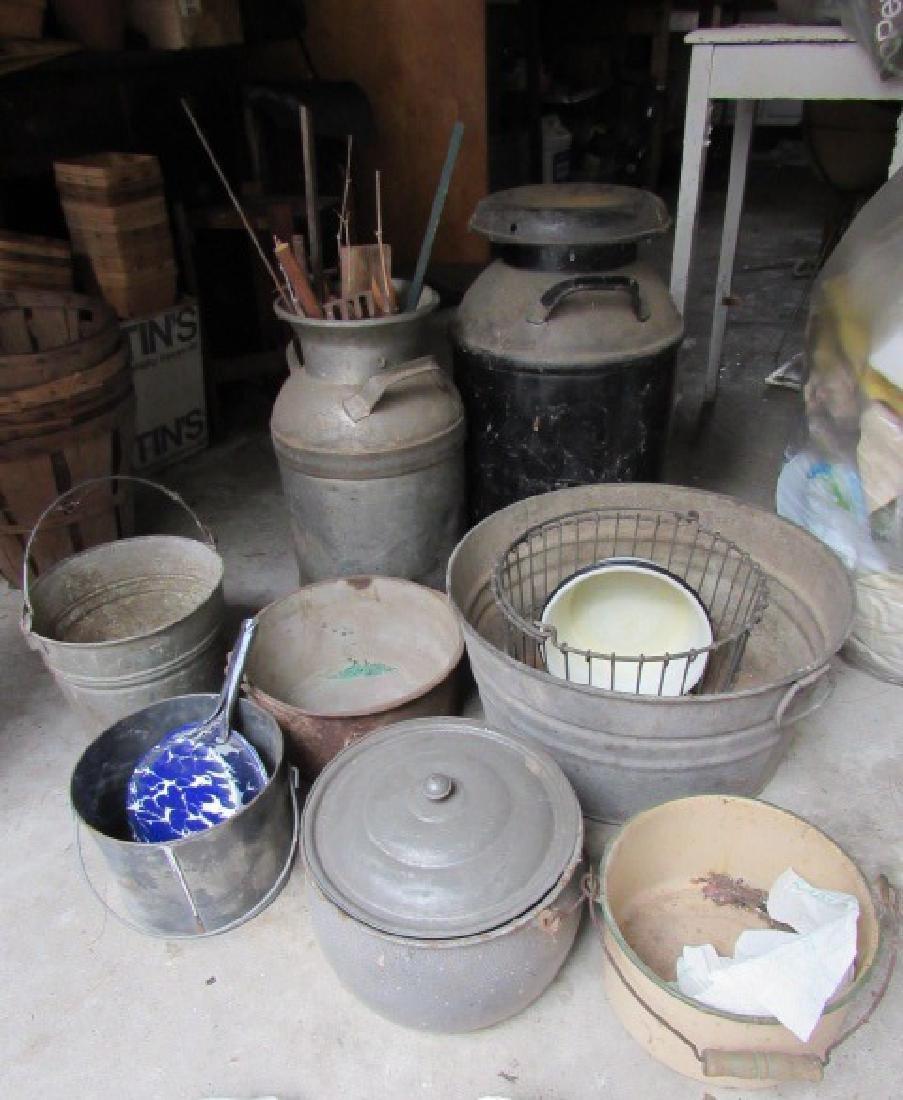 Milk Cans Agateware Pots & Pans Lot