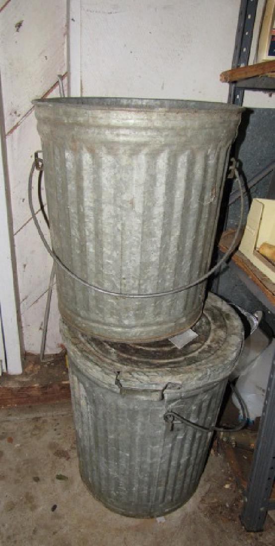 2 Galvanized Trash Cans