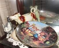 Goebel Cow Creamer Cat & Plate Lot