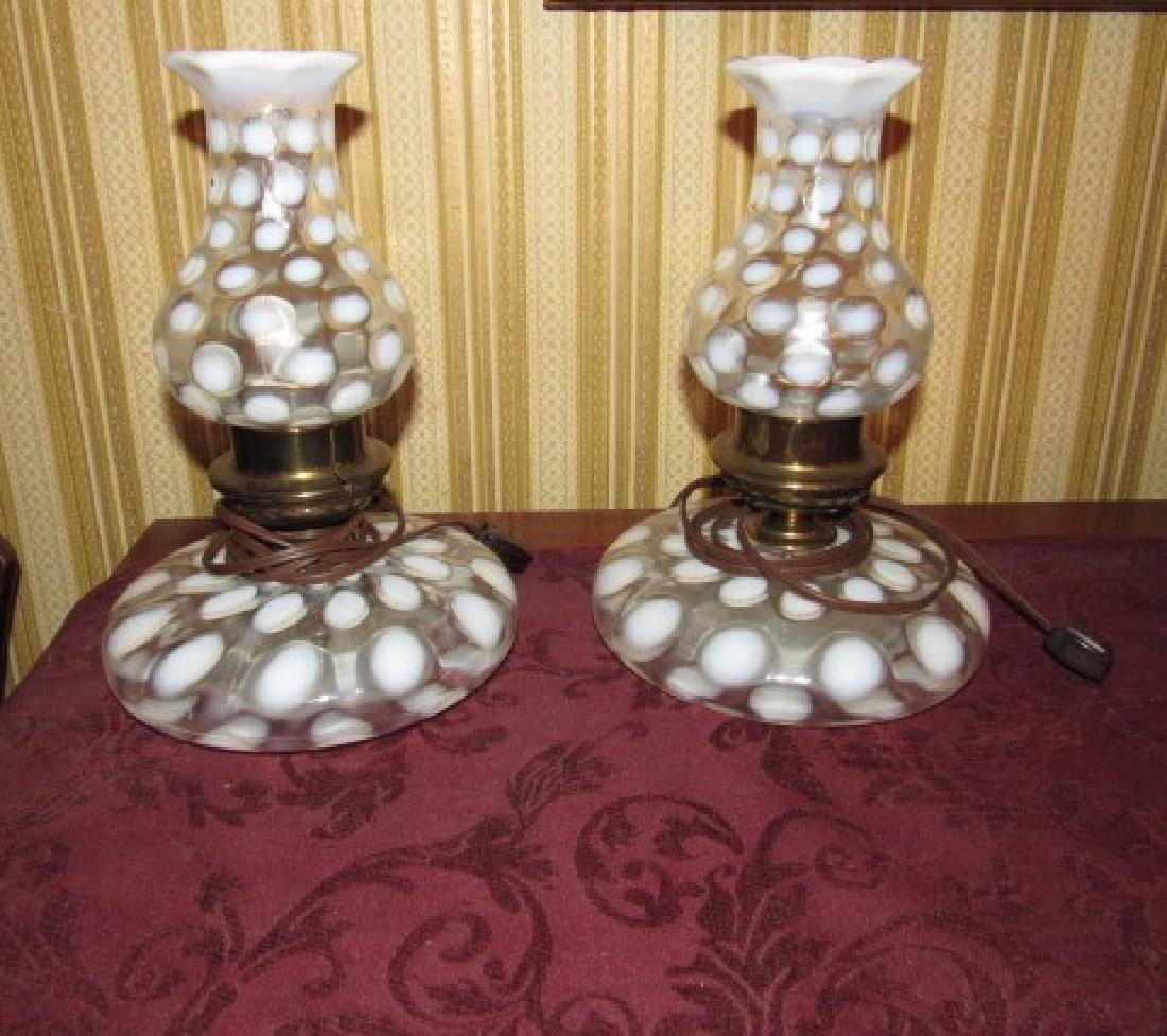 2 Fenton Glass Coin Dot Lamps