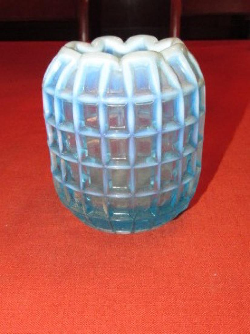 Fenton Blue Opalescent Windowpane Vase
