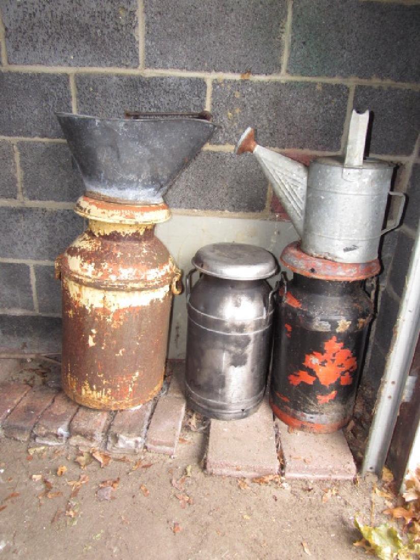 3 Milk Cans Coal Bucket & Water Can
