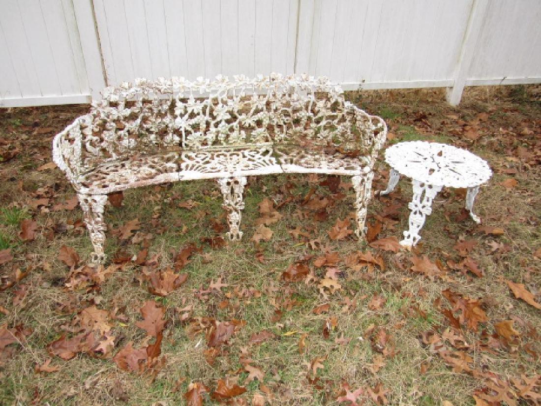 Cast Iron Garden Bench & Round Table