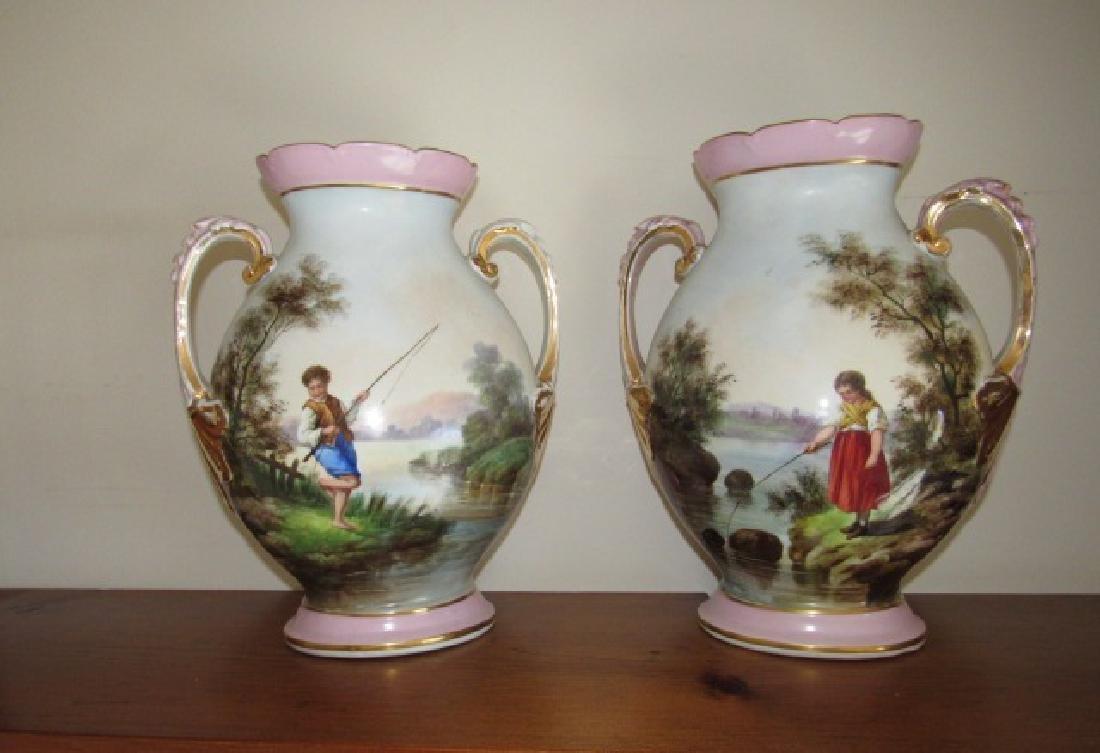 Hand Painted Limoge Fishing Scene Vases
